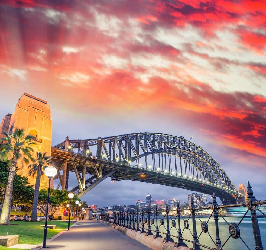 Moving to Australia - Sydney Harbour Bridge with a beautiful sunset