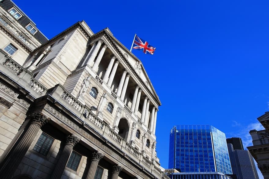 The bank of England building in London