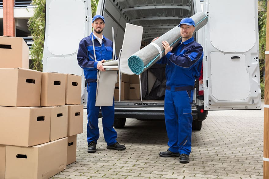 Shipping Delivery Men Holding Chairs And Carpet